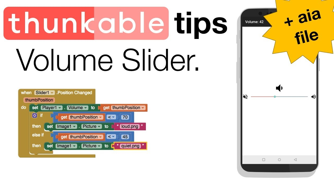 Thunkable Volume Slider App with aia file