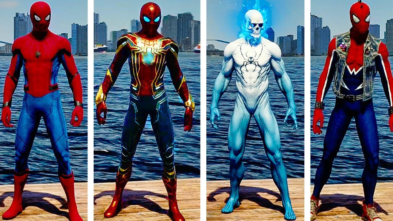 SPIDER MAN PS4 All Suits And Suit Powers UNLOCKED Free Roam Gameplay  (SPIDERMAN PS4)