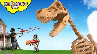 GIANT TREX SKELETON Escape! Skyheart Toys nerf war dinosaurs for kidd