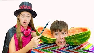 Nastya shows the tricks of Artem and Mia