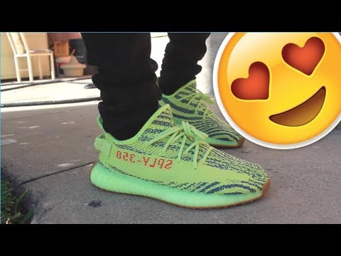 Drop Review YEEZY Semi Frozen Yellow + on feet - YouTube