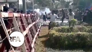 Myanmar Police Fire Rubber Bullets at Ethnic Minority Protest | Radio Free Asia (RFA)