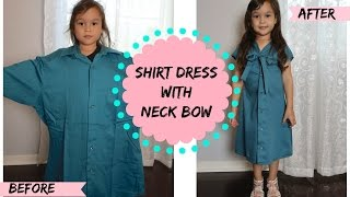 CONVERT MEN SHIRT INTO A SHIRT DRESS with a Neck Bow