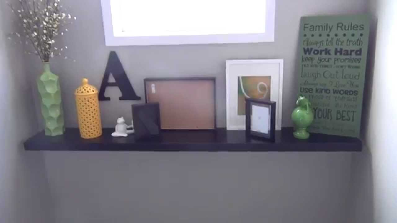 how to make your own mantel with a floating shelf ikea lack floating shelf youtube. Black Bedroom Furniture Sets. Home Design Ideas