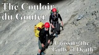 Crossing the Grand Couloir du Gouter, Mont Blanc