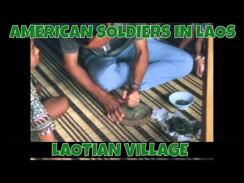 AMERICAN SOLDIERS IN LAOS  LAOTIAN VILLAGE 75082