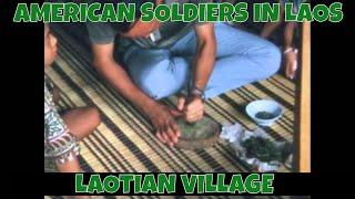 AMERICAN SOLDIERS IN LAOS  LAOTIAN VILLAGE 75082