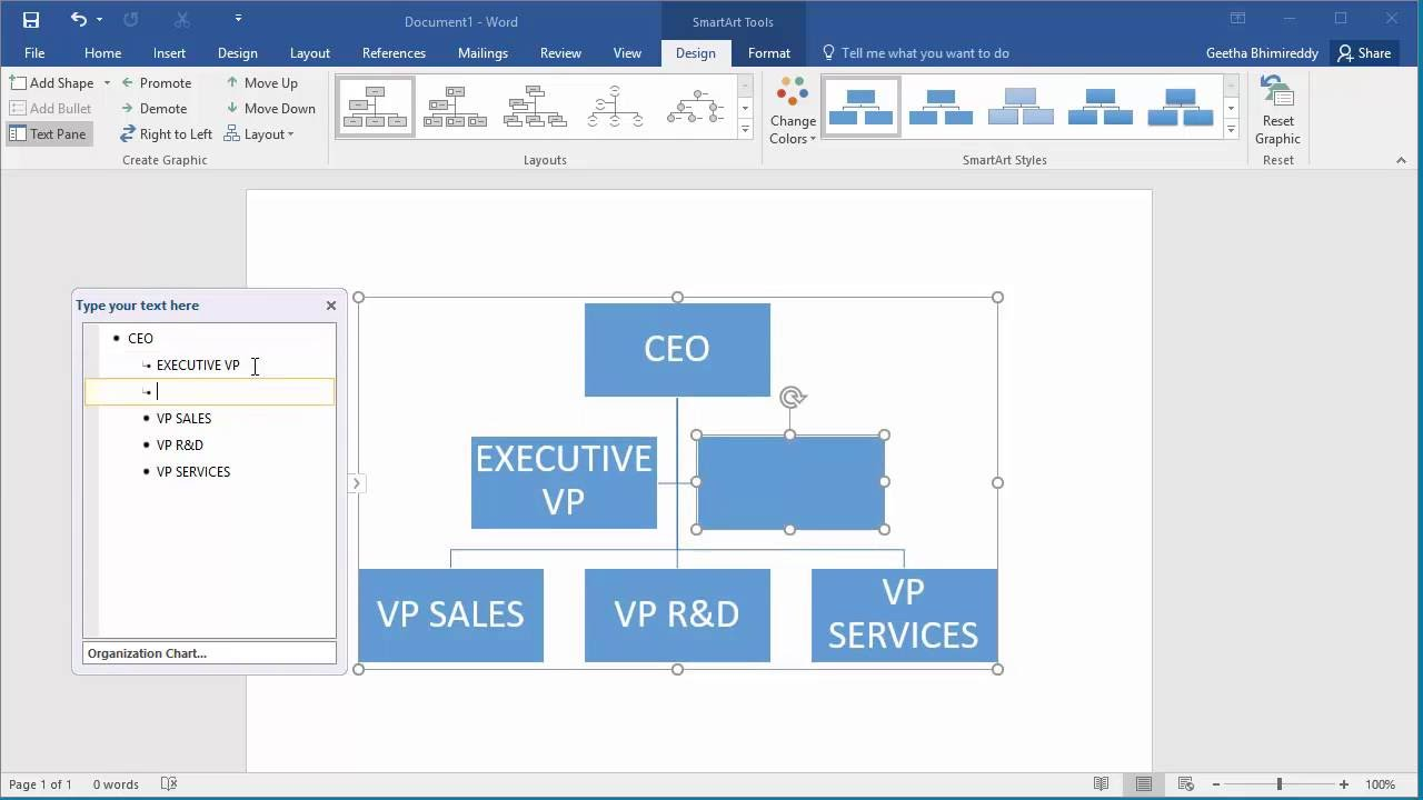 How to Create an Organization Chart in Word 2016 - YouTube
