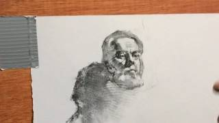 VERY USEFUL Charcoal Drawing Technique Demo Instruction-PREVIEW - Clothed Male Portrait