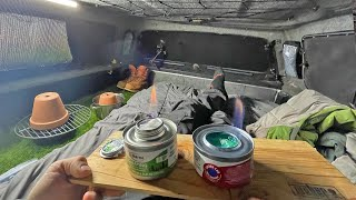 Truck Camping in -17 Degŗees Using Sterno Cans for Heat