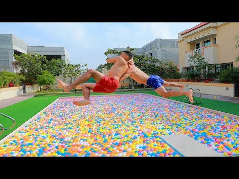 WWE MOVES IN MASSIVE BALL PITS POOL