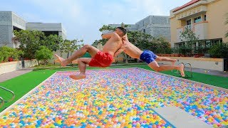 vuclip WWE MOVES IN MASSIVE BALL PITS POOL