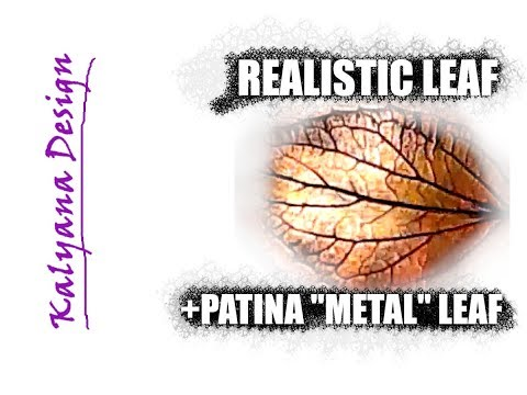 """Create realistic leaves +patina """"metal"""" leaf pendant -polymer clay tutorial 018"""