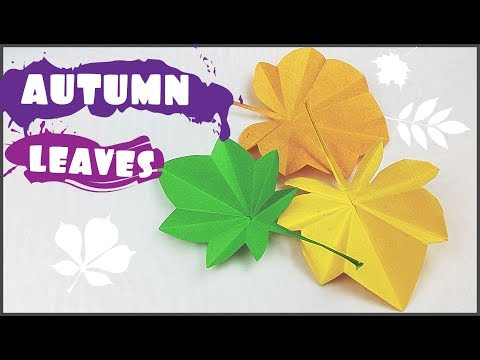 Origami autumn leaf paper (leaves) diy design craft making tutorial easy cutting from paper