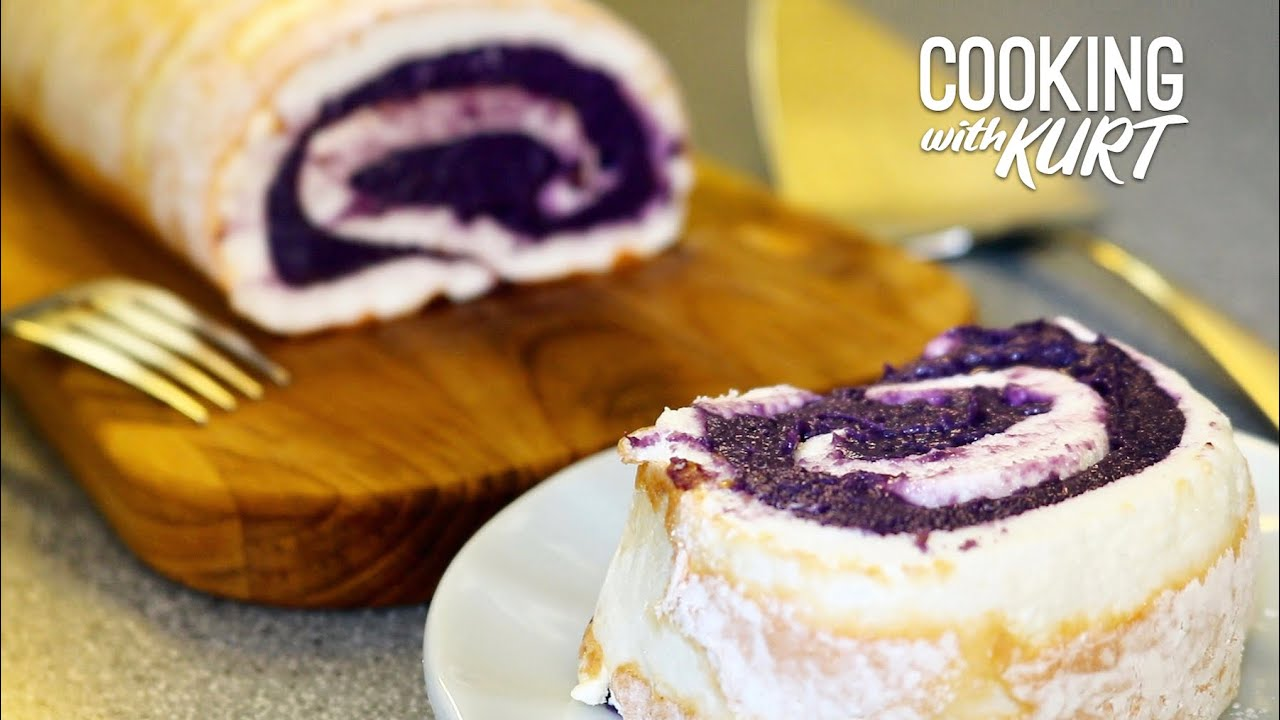 Red Ribbon Ube Brazo De Mercedes Filipino Purple Yam Rolled Into A Meringue Cooking With Kurt Youtube