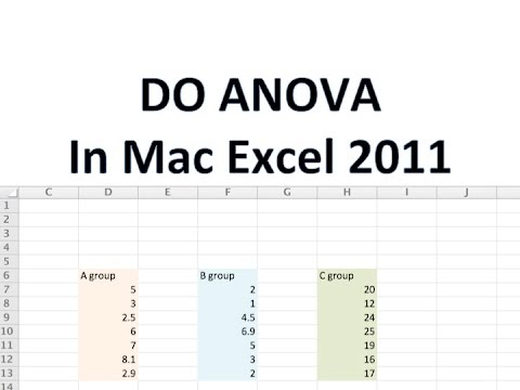 how to find anova in mac excel