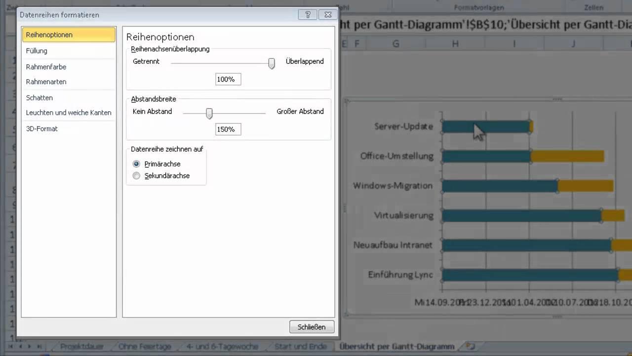 Übersicht über Projekttermine mit Gantt-Diagrammen - YouTube
