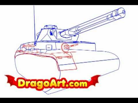 how to draw a ww2 tank step by step