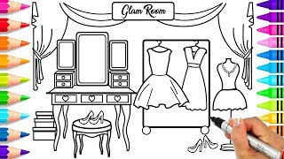 Learn How to Draw a Glam Room Step by Step for Kids | How to Draw Outfits and Accessories for Girls