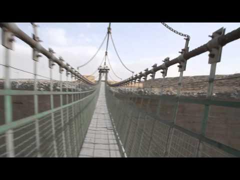 A walk on the Jiayuguan suspension bridge, China.