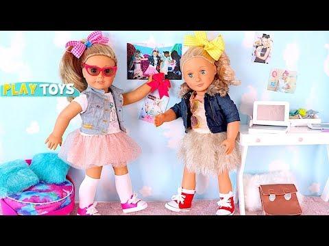 Baby Doll Dress Up American Girl Doll Dress Up Make Up Bow Hairstyle Like Jo Jo Siwa