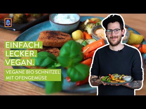 Rezept: Vegane Bio Schnitzel mit Ofengemüse