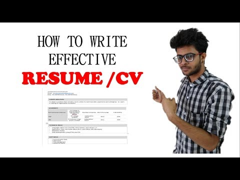 How to write a Resume/ CV Effectively for freshers in Hindi