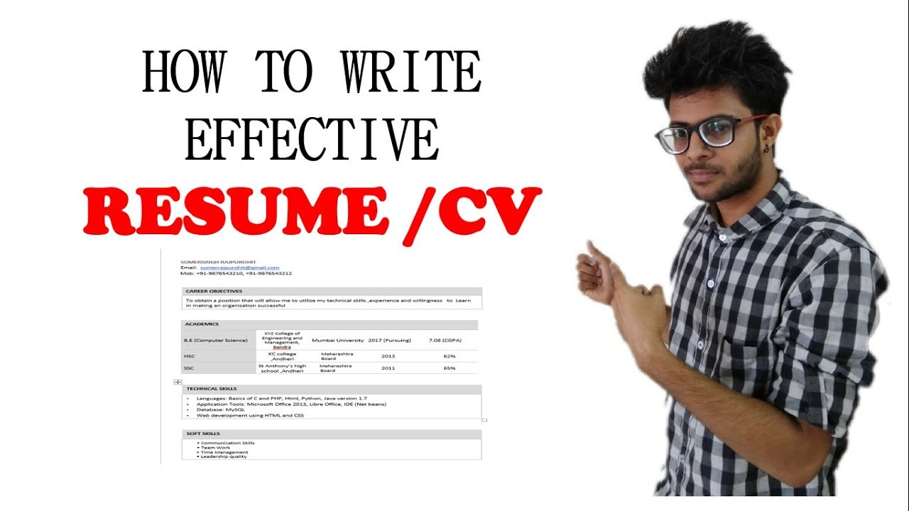 How To Write A Resume Cv Effectively For Freshers In Hindi Youtube