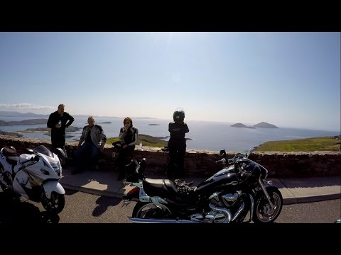 Driving along the most scenic route Ring of Kerry Derrynane area Ireland with Irish Celtic music.