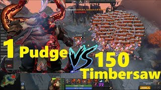 1 PUDGE  VS 150 TIMBERSAW !!!! UNIQUE RAMPAGE BATTLE.