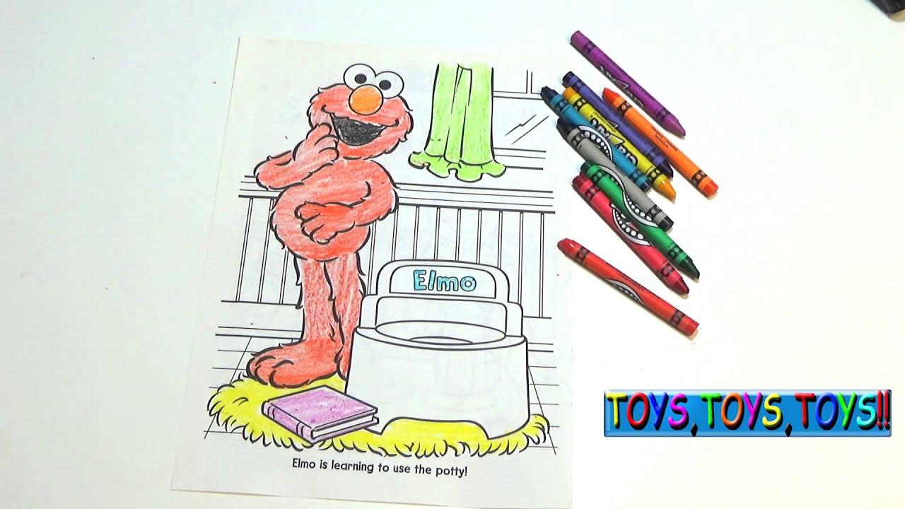 Sesame Street Coloring Book Elmo is Potty Trained Crayons - YouTube