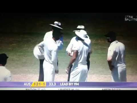 Warner Vs Aron Fight Adelaid Test 2014