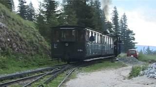 Schneebergbahn – cogwheel steam train at middle station