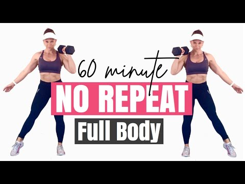 60 MINUTE FULL BODY NO REPEAT Full Body Cardio & Strength HIIT ��Burn 482 Calories