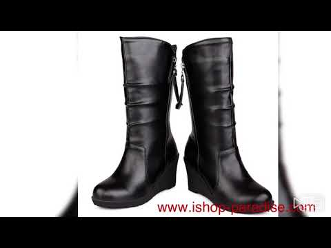 Womens Wedges heel shoes Chelsea booties leather Chunky Boots Plus size SB57#