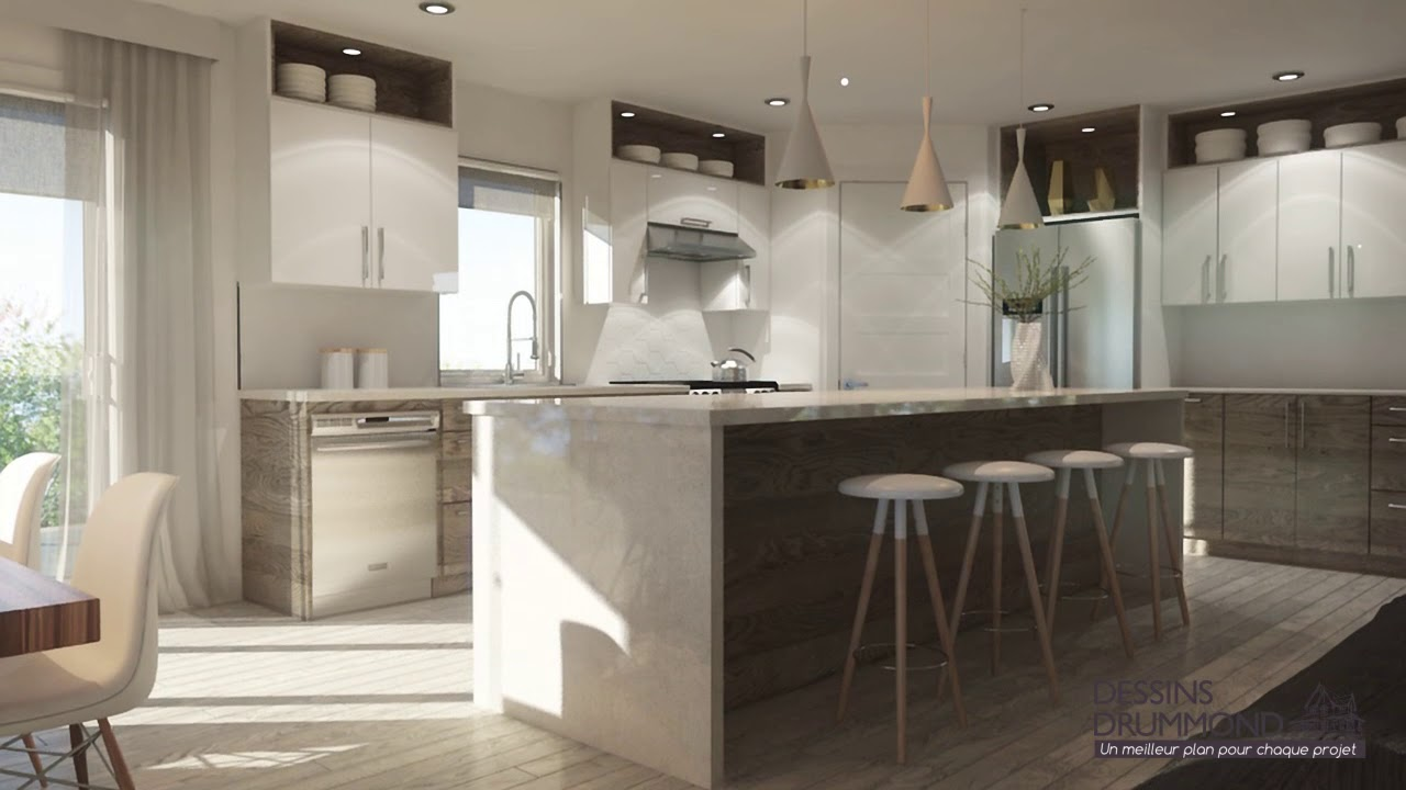 Plan de maison moderne  tage avec garage de Dessins Drummond plan 3891  YouTube