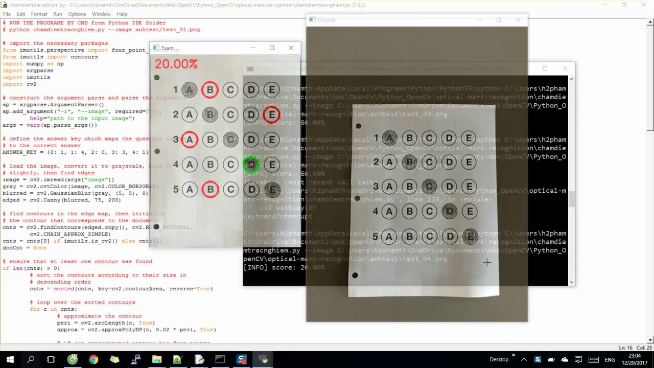 Exam test result checking in computer vision OpenCV