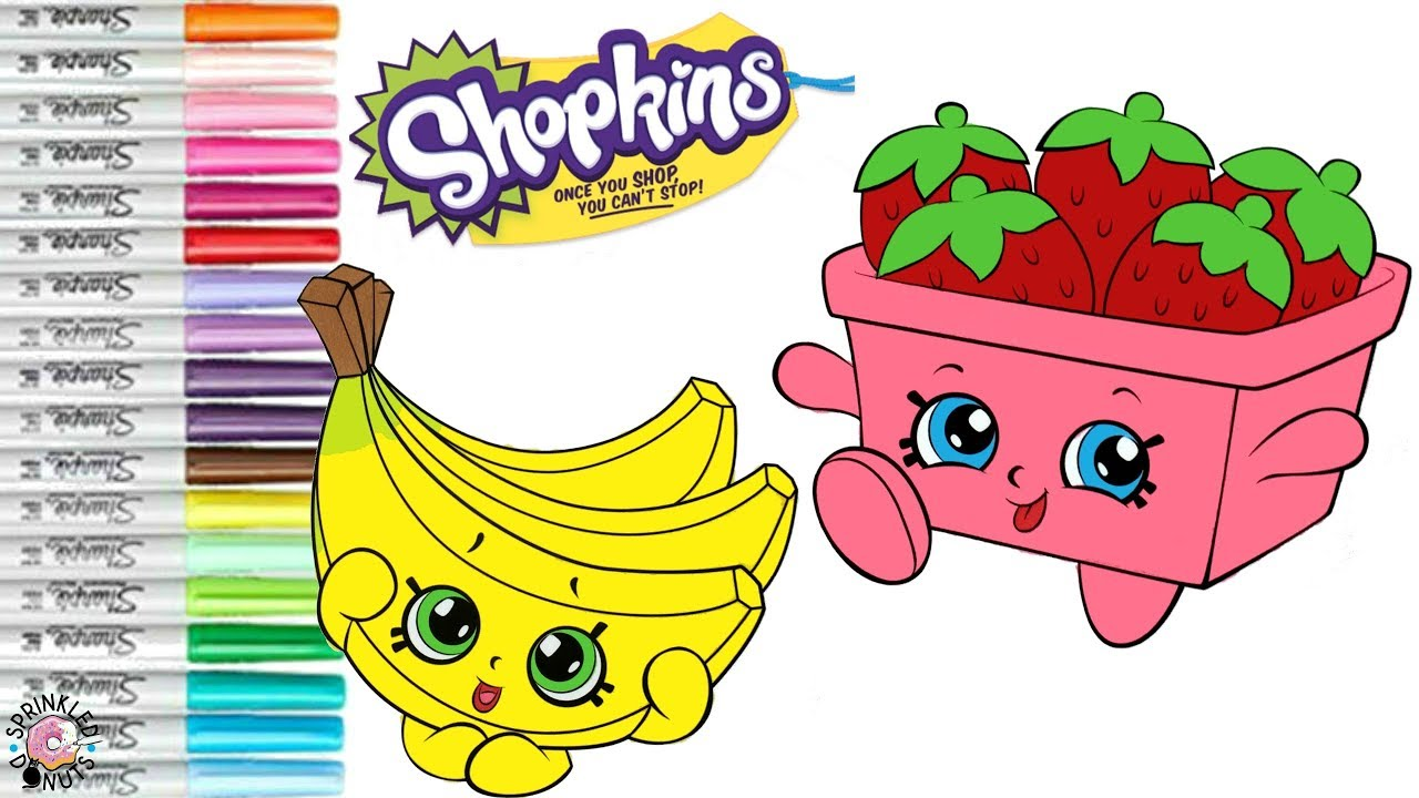 Shopkins Coloring Book Page Strawberry Top Buncho Bananas Chef Club