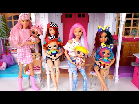 Barbie Doll LOL Family Slumber Party Evening Routine Playdate with Baby Goldie