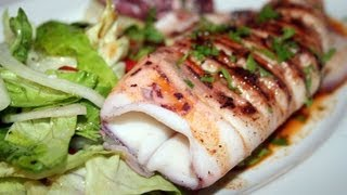 Pan seared squid traditional spanish style