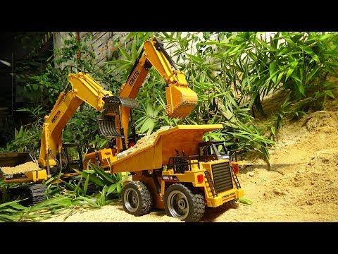 Trucks for Kids Stories Episodes 4 |  Diamond Mining Team in Jurassic Park | Excavator For Kids