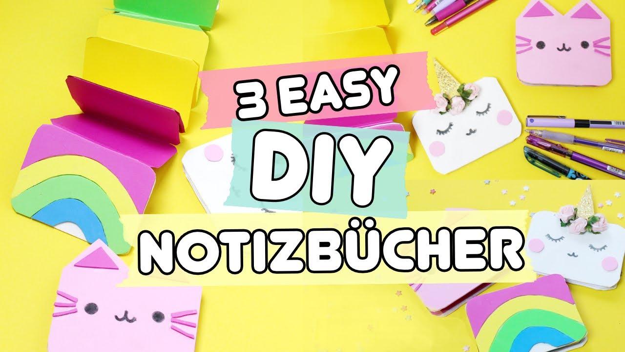 3 Einfache Diy Notizbücher Basteln Einhorn Katze