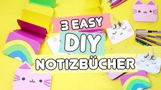3 einfache DIY Notizbücher basteln ◆ Einhorn 🦄  , Katze 🐱  & Regenbogen! 🌈