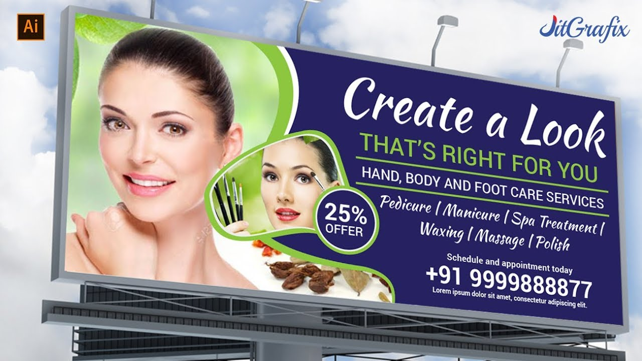 Billboard Design In Illustrator Tutorial Flex Hoarding Beauty Salon Banner Membuat Spanduk Youtube