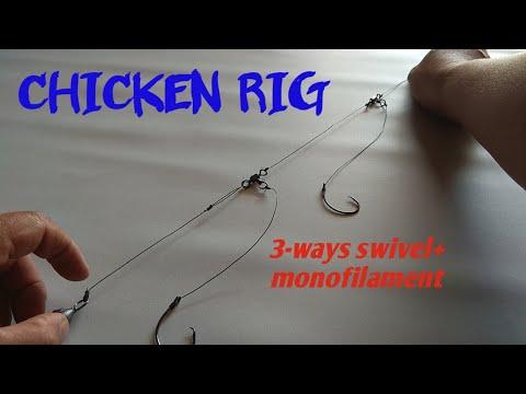 Cara membuat CHICKEN RIG dengan menggunakan monofilament dan 3-way swivel || How to make CHICKEN RIG
