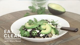Vegetarian Black Beans With Rice And Avocado  - Eat Clean With Shira Bocar