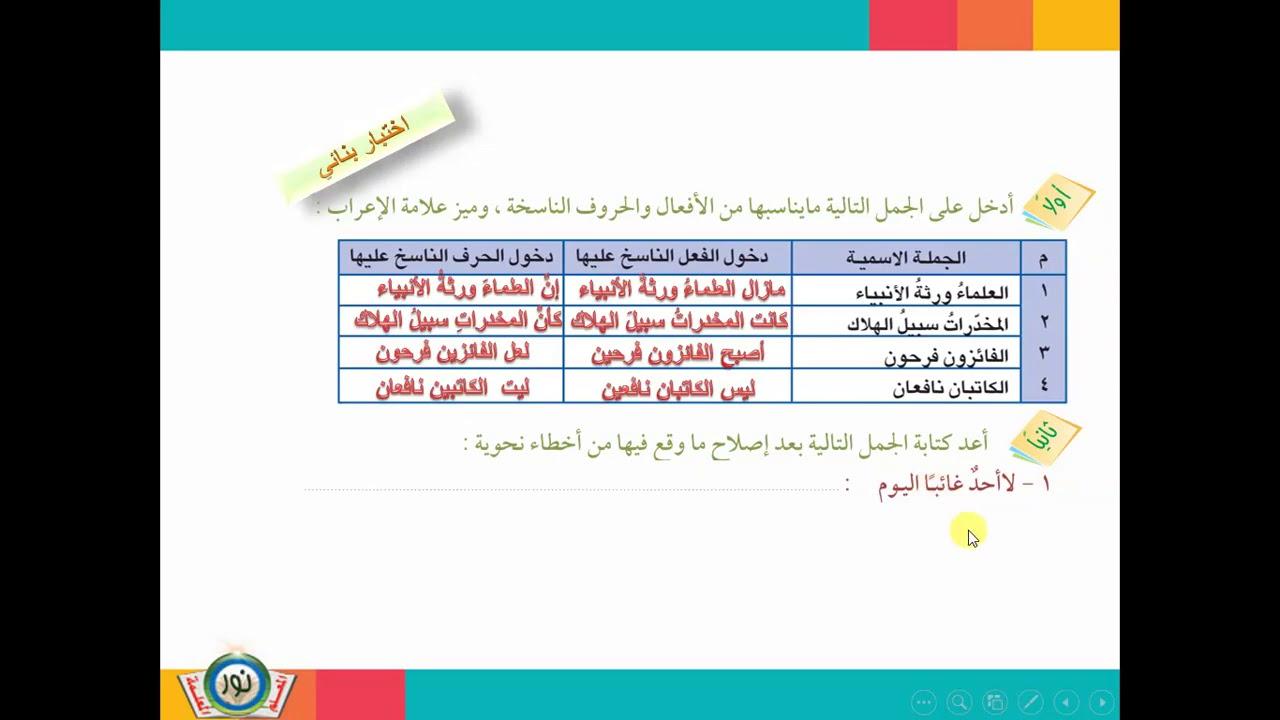 مكونات الجملة الاسمية ونواسخها