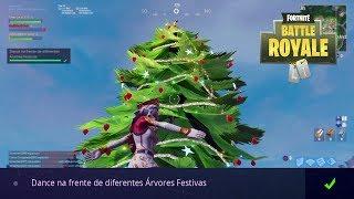 """Desafio """"Dance na frente de diferentes Árvores Festivas"""" - 14 dias de fortnite"""