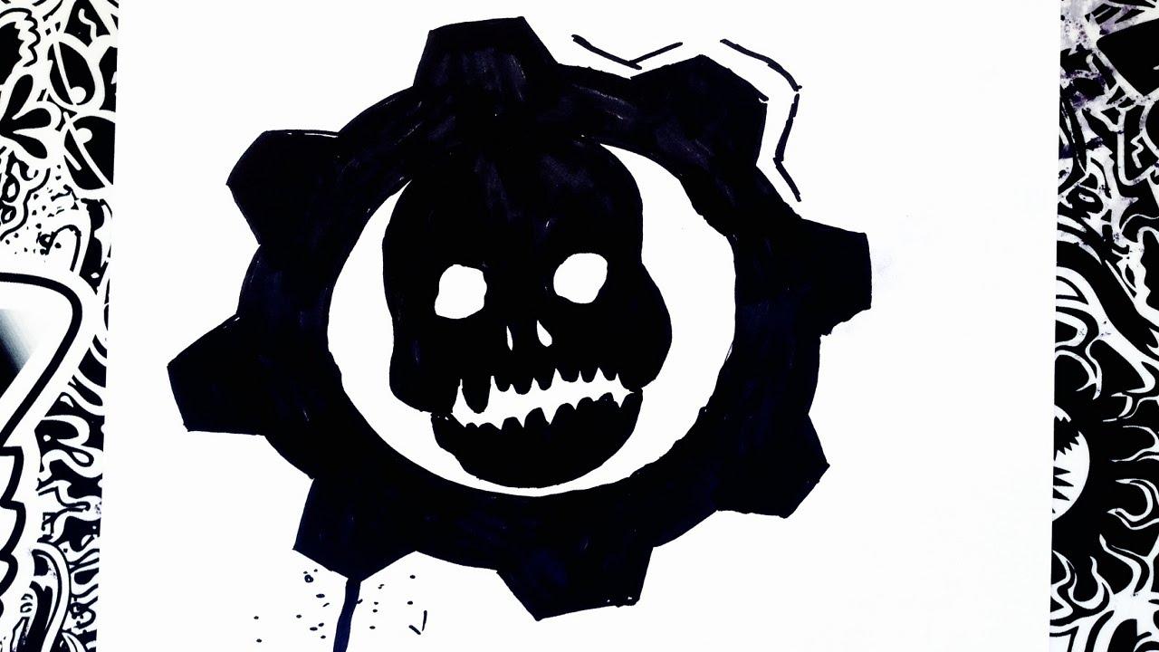 Como Dibujar El Logo De Gears Of War How To Draw Gears Of War