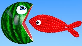 Learn Colors with PACMAN and Fish Shapes Underwater WaterMelon Street Vehicle for Kids